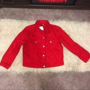 H&M red jean jacket new with tags